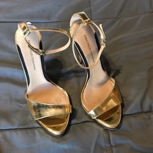 Zara strappy metallic gold stiletto heels Sz 7.5